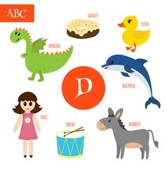 Letter D Cartoon alphabet for children Duck drum vector image vector image