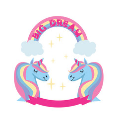 magic unicorn and rainbow poster greeting card vector image vector image