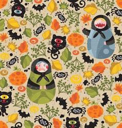 Matryoshka dolls and cat monsters vector image