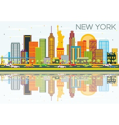 New York Skyline with Color Buildings vector image