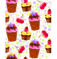 seamless decorative pattern with muffins and vector image vector image