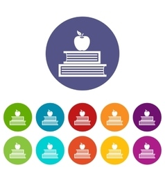Books and apple set icons vector image