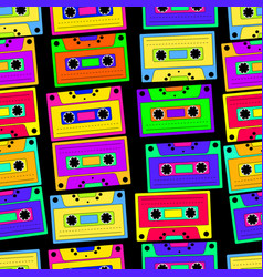 bright colorful retro cassette seamless pattern vector image