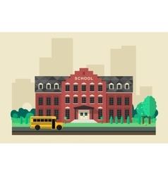 School building with yellow bus vector image
