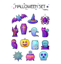 set of halloween icons sticker vector image vector image