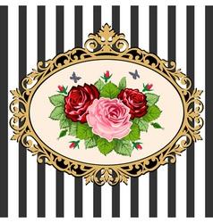 vintage rose bouquet frame vector image vector image