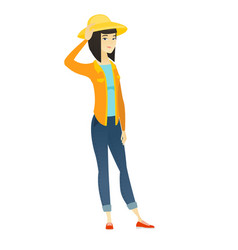 young asian farmer scratching her head vector image vector image