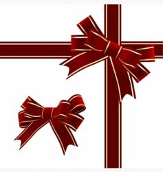 christmas red ribbon with bow vector image