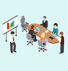 flat 3d isometric business conference vector image