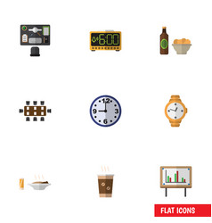 flat icon lifestyle set of timer beer with chips vector image vector image