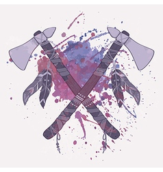 Grunge of native american indian tomahawks w vector