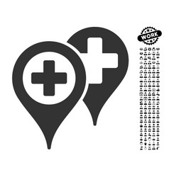 Hospital map markers icon with men bonus vector