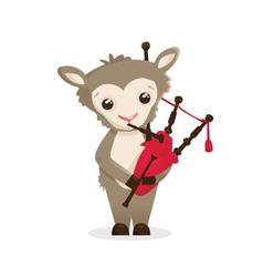 Musical animals Sheep bagpipes vector image vector image