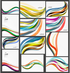 set of wave elegant modern geometrical templates vector image