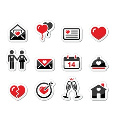 Valentines Day love icons set as labels vector image