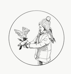 beautiful young girl and bird winter hand drawn vector image