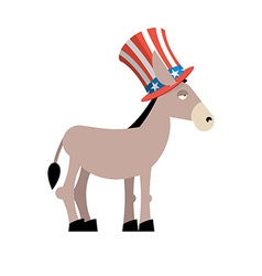 Donkey Democrat Donkey in Uncle Sam hat Symbol of vector image vector image