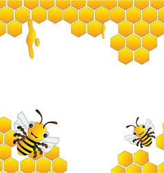 Happy bees frame background vector image vector image