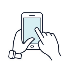 line smartphone icon mobile phone in hand vector image vector image