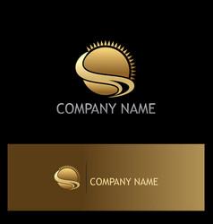 Sun shine ocean summer gold logo vector