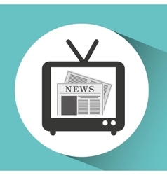 tv retro news bubble speech design vector image