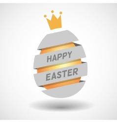 White Happy Easter Egg ribbon and golden egg vector image vector image