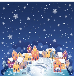 Winter night town vector image vector image