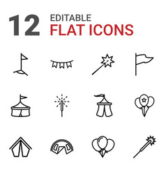 12 festival icons vector image