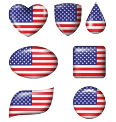 American flag in various shape glossy button vector