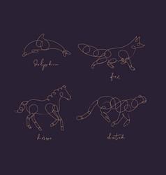 Animal pen line dolphin dark animal pen line vector