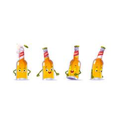 beer bottle character kawaii funny glass flask vector image