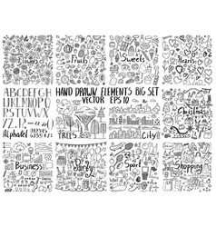 big collection of hand drawn elements vector image