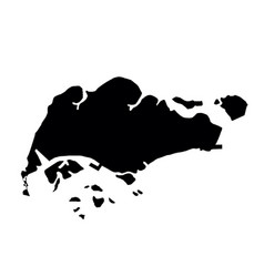 black silhouette country borders map of singapore vector image