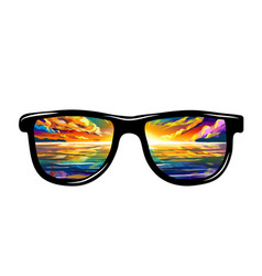 Black sunglasses with sunset reflection on sea vector