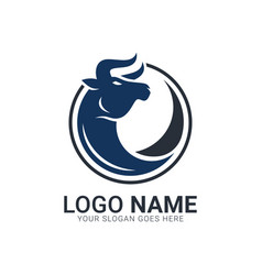 Bull on circle shape bull logo design vector