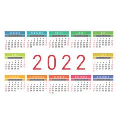 Calendar 2022 year english colorful horizontal vector