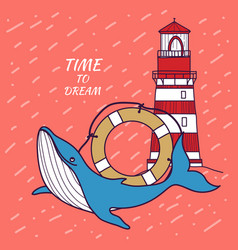 Card in a nautical theme with whale lifebuoy vector