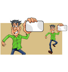 cartoon man running showing empty card in hand vector image