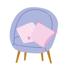 chair with cushions comfort decoration furniture vector image