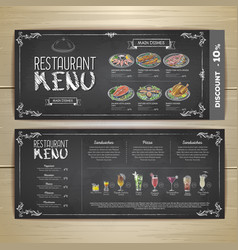 Chalk drawing restaurant menu design vector