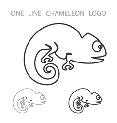 Chameleon One Line Logo Minimalism Style vector