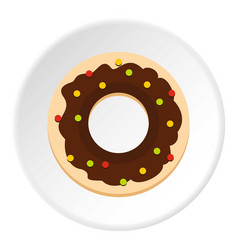 Chocolate donut icon circle vector