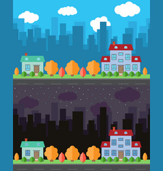 City with two cartoon houses vector
