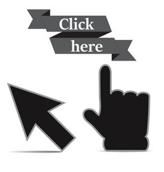click icons hand and arrow origami vector image
