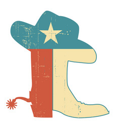 cowboy boots and hat texas flag decoration grunge vector image