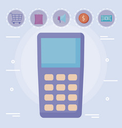 dataphone with cart shopping and set icons vector image