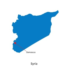 Detailed map of Syria and capital city Damascus vector
