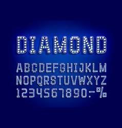 diamond blue golden font alphabet number sign vector image