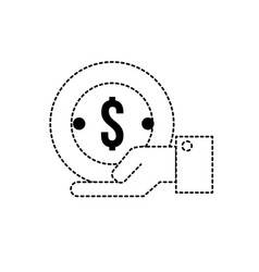 dotted shape businessman with coin cash money in vector image