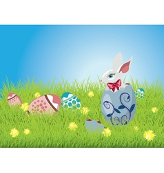 Easter Bunny and Grass Field vector image